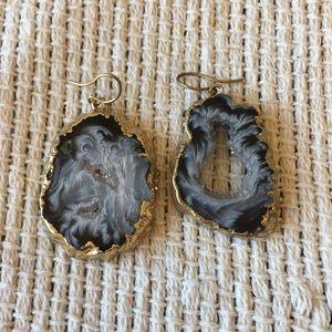 Anthropologie purple gem stone earrings in gold